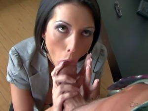 Dark haired office MILF Dylan Ryder with perfect big boobs