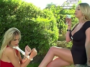 Outdoor lesbian with a passionate whore Danielle Maye and her girlfriend Lexi...