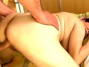 Old Goldee granny licking a huge dick dominating her wet pussy.