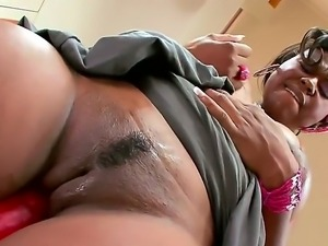 The prepossessing ebony whore Mahogany Bliss demonstrates her ass and plays...