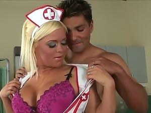 Sexy booby nurse Crista Moore helps her patient Sergio to enlarge his cock!
