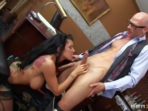 Horny and lusty dark haired secretary with pair of huge