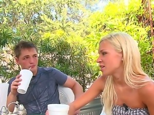 Blue eyed teen blonde Kacey Jordan wants to seduce this young sexy guy