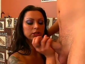 Brunette slut Dane Cross pushing deep in her throat Nikita Denises cock she...