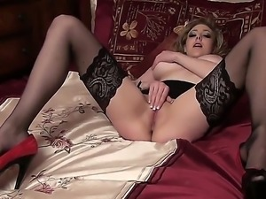Bewitching Sapphire Blue in super hotnsexy stocking and high heels caressing...