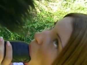Big tit teen sucks off big panda cock