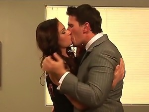 Lusty and hot brunette babe Samantha Ryan enjoys in office sex with her boss...