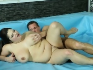 Bbws kristy & lenny wrestling action