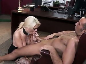 Submissive blonde whore Alexis Ford with juicy tits in fishnet stockings...