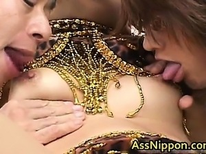 Asian Babe Sucks and Gets double Fucking