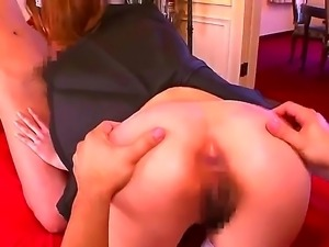 Sexy maid Rin Sakuragi enjoys pleasing her master by deep sucking his long cock
