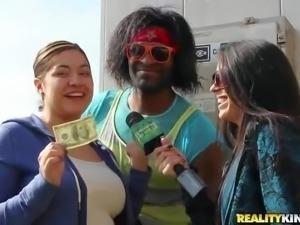 Ladies next door get paid to touch black guy's nice