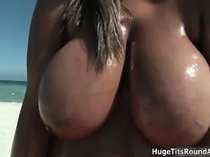 Busty ebony slut gets horny showing off part3