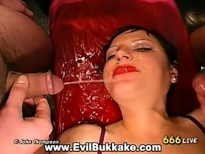 Hot naughty sluts get down on their knees and blow massive hard cocks