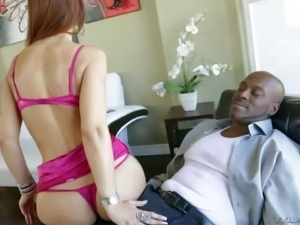 Dirty and horny redhead pornstar hottie Syren De Mer enjoys in showing up in...