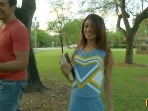 Cute cheerleader Veronica Rodriguez in uniform and white panties gets