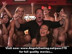 Amateur sex orgy with hot girls getting cumshot on face and dancing