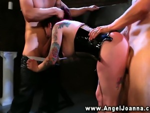 Angel Joanna blows two guys for her freedom in their dungeon HD