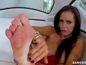 Topless Jenna Presley in red panties flashes her pussy as