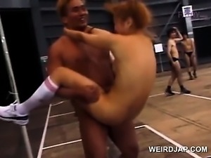Slutty asian school girl cunt banged hardcore in the gym