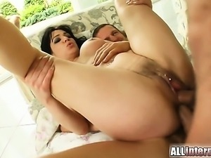 Shannya takes it hard to the ass. Two cocks rock her anus and fill her full...