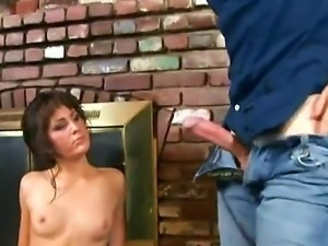 Sexy babe Billi enjoys giving a huge hard cock a mind blowing blowjob before...