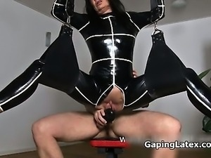Sexy brunette babe gets horny fucking part1