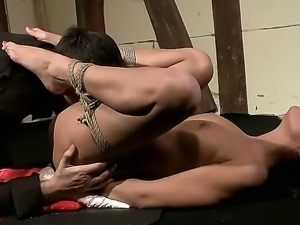 Hardcore BDSM and fetish scene with a naughty and gorgeous brunette named...