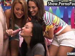 College girls take turns sucking dick