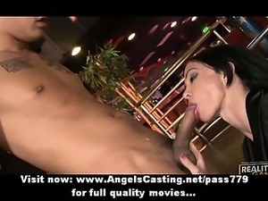 Gorgeous superb sexy brunette babe with big tits doing blowjob