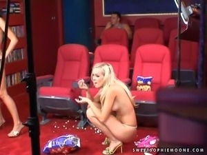 Nasty blonde and brunette pornstar ladies have lots of fun during their porn...