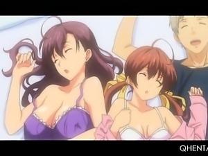 Petite hentai dick addict girl giving blowjob in hardcore 3some