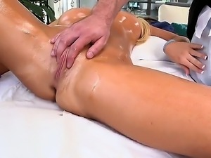 Sexy Tasha Reign being massaged hard by her boyfriend and later freaked her...