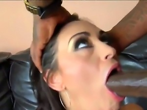 Latina chick Claudia Valentine is relaxing with her ebony boyfriend. He is...
