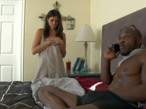 Exotic looking white milf Cece Stone needs meaty black cock badly. Slim lady...