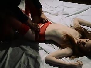 Unique lesbians in pantyhose using strap