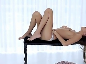 Pretty leggy girl got what to expose and she is in love with herself. The...