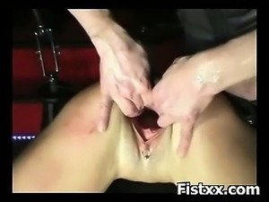 Sexy Bitch Fist Penetrated In Tight Puckering Holes