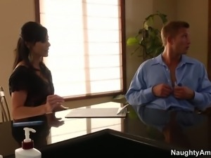 Dark haired MILF Kendra Lust is cock hungry. Lucky guy