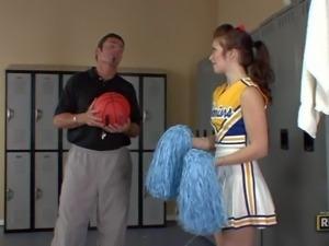 Ashlyn Rae is a cheerleader in uniform but with no