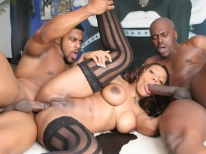 Three black amateurs make a nice xxx orgy video
