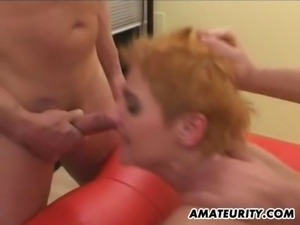 Naughty amateur German Milf group sex action
