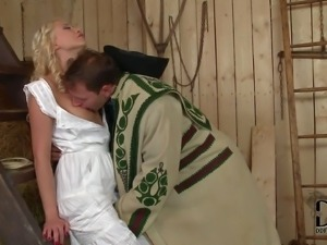 Lovely village blonde Lindsey Olsen in long virgin white dress is a...