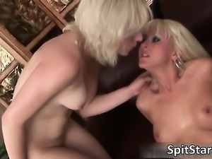 Sexy blonde babes spit on each other part1