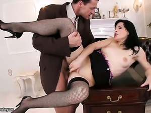 Amabella looks for a chance to get orgasm after hard wet spot fucking with...