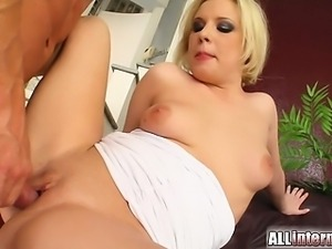 This cute little short haired blonde gets her ass penetrated. Two guys pound...