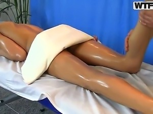 Young nude and oiled tempting black haired Lerok with natural boobs and nice...