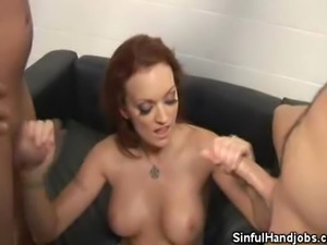 We have the lovely Monica Mayhem on this clip as she cock jabs two studs....