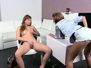 Lesbian amateur licks pussy in office