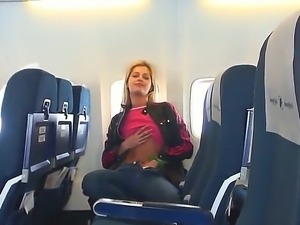 Cute babe Shasha gets lonely and naughty in a plane and pleases her ever...